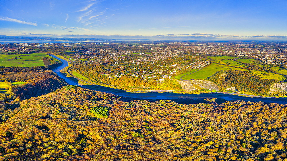 Aerial view over the Avon Gorge, the Downs and city centre, Bristol, England, United Kingdom, Europe - 794-4684