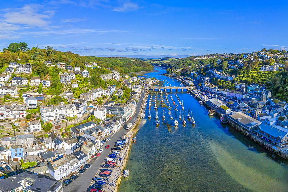 Aerial view over Looe, Cornish fishing town, Cornwall, England, United Kingdom, Europe