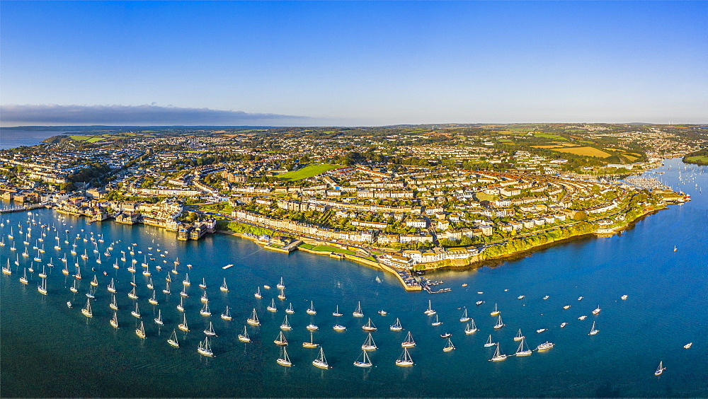 Aerial view over the Penryn River and Falmouth, Cornwall, England, United Kingdom, Europe - 794-4701