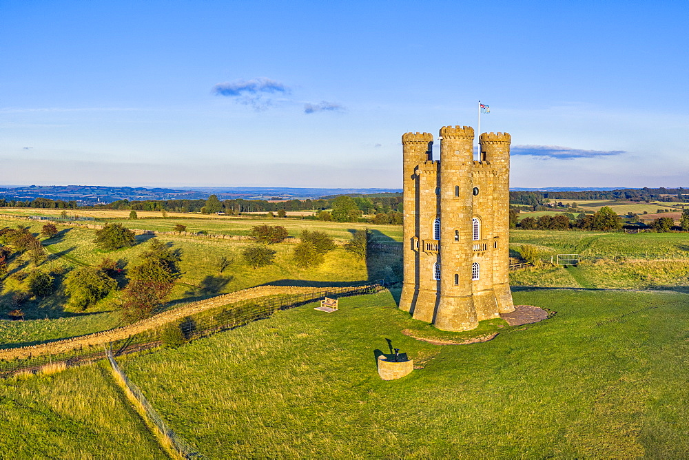 Broadway Tower on top of Fish Hill, the second highest point in the Cotswolds, Broadway, Worcestershire, England, United Kingdom, Europe