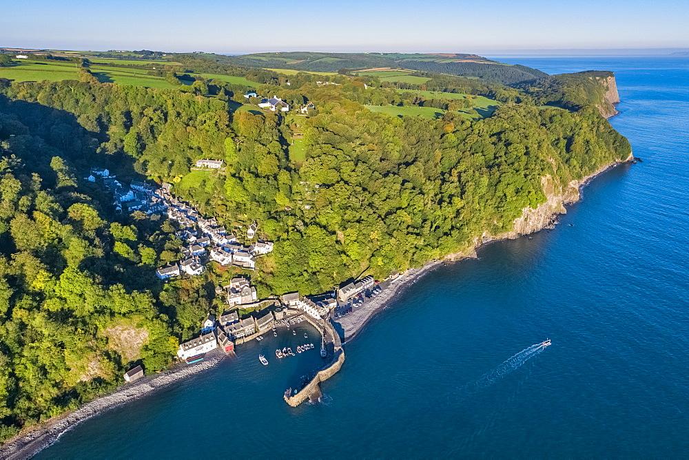 Aerial elevated view over Clovelly on the North Devon coast, Devon, England, United Kingdom, Europe