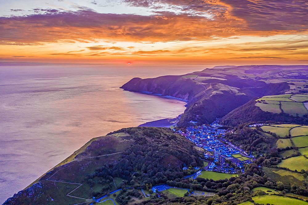 Sunrise over Lynton, Exmoor National Park, North Devon, England, United Kingdom, Europe