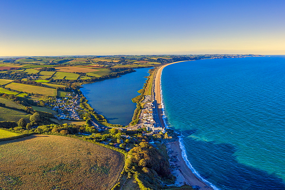 Aerial view of Slapton Sands, Devon, England, United Kingdom, Europe