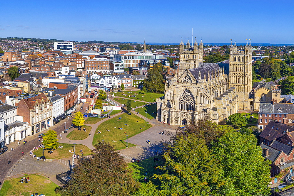 Aerial view over Exeter city centre and Exeter Cathedral, Exeter, Devon, England, United Kingdom, Europe - 794-4743