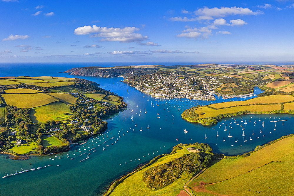 Aerial view of Salcombe on the Kingsbridge Estuary, Devon, England, United Kingdom, Europe