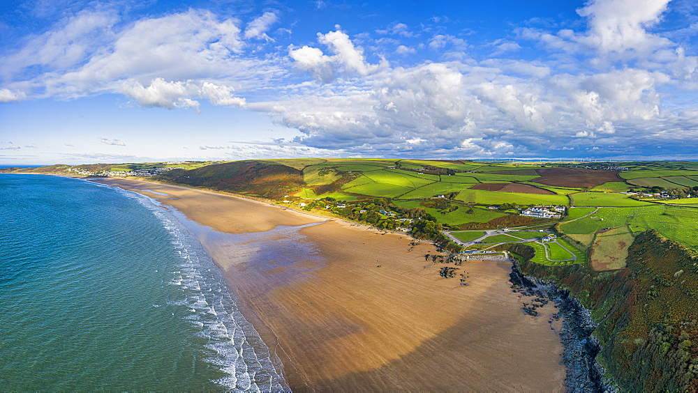 Aerial view over Putsborough beach towards Woolacombe, Morte Bay, North Devon, England, United Kingdom, Europe