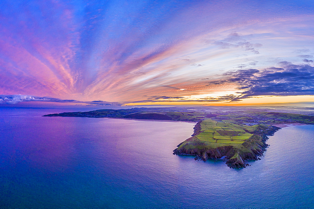 Aerial sunrise view over Baggy Point towards Woolacombe, Morte Bay, North Devon, England, United Kingdom, Europe