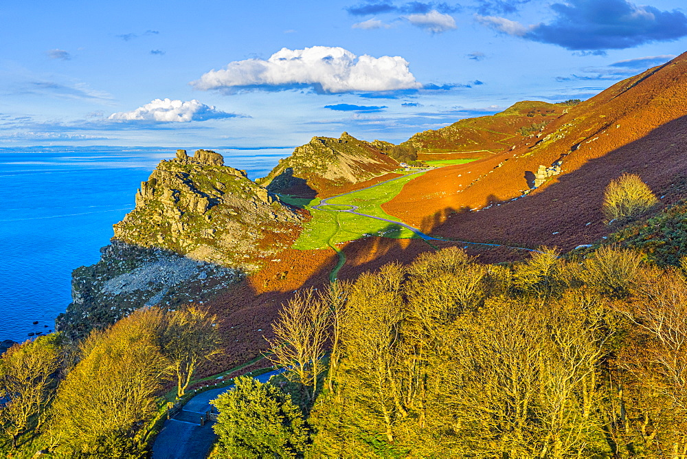 Elevated view over the stunning Valley of the Rocks near Lynton, Exmoor National Park, North Devon, England, United Kingdom, Europe - 794-4757