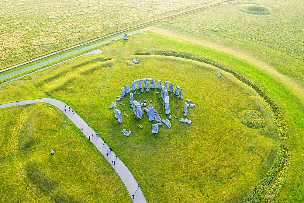 Stonehenge viewed from above, UNESCO World Heritage Site, Salisbury Plain, Wiltshire, England, United Kingdom, Europe