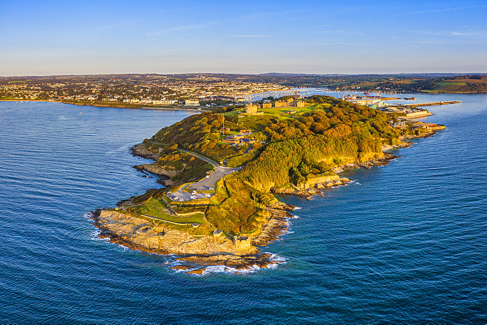 Aerial view over Pendennis Castle and Falmouth, Cornwall, England, United Kingdom, Europe