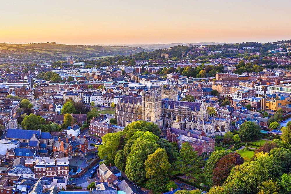 Aerial view over Exeter city centre and Exeter Cathedral, Exeter, Devon, England, United Kingdom, Europe