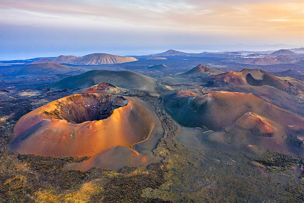Volcanoes in Timanfaya National Park, Lanzarote, Canary Islands, Spain, Atlantic, Europe