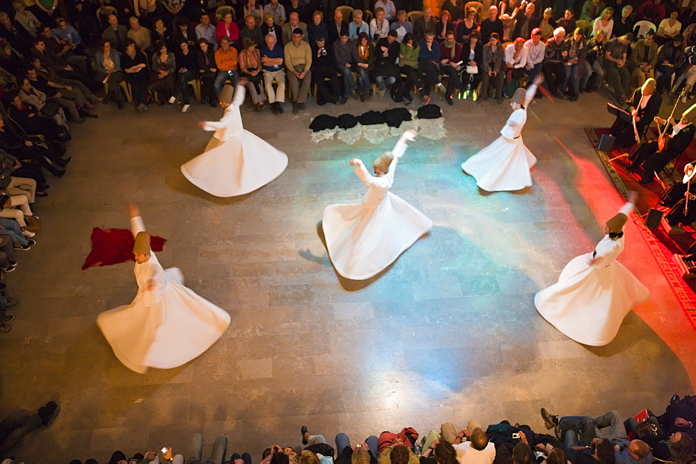 The Mevlevi, (Whirling Dervishes) performing the Sufi dance, Istanbul, Turkey, Europe - 794-615