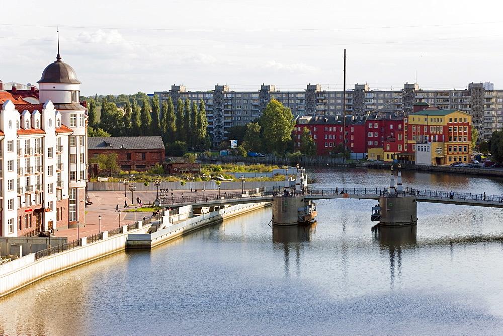 Modern buildings along the River Pregolya, Kaliningrad (Konigsberg), Russia, Europe