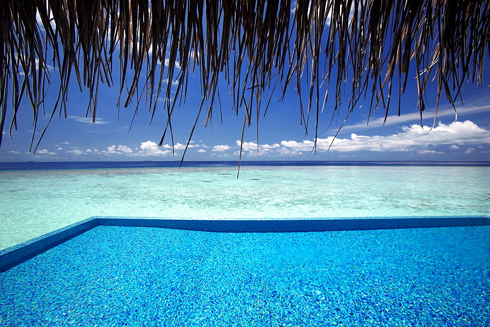 Infinity pool and lagoon, Maldives, Indian Ocean, Asia - 795-521