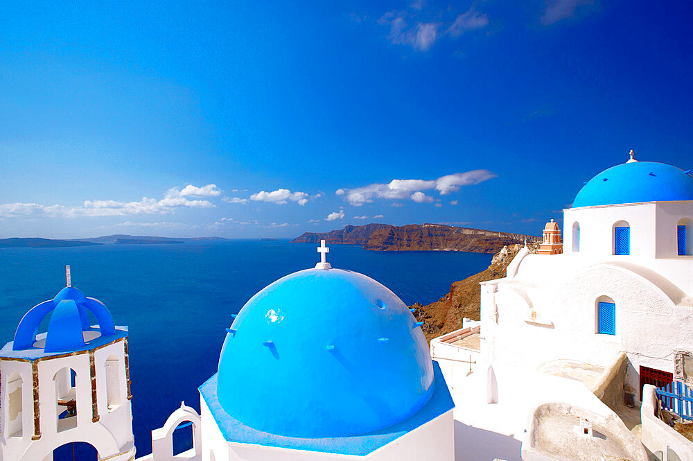 Elevated view of the Aegean Sea from a top of a church with blue domed roofs, Santorini, Cyclades, Greek Islands, Greece, Europe