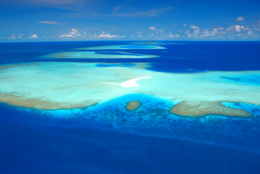 Aerial view of atolls and coral reefs, Maldives, Indian Ocean, Asia