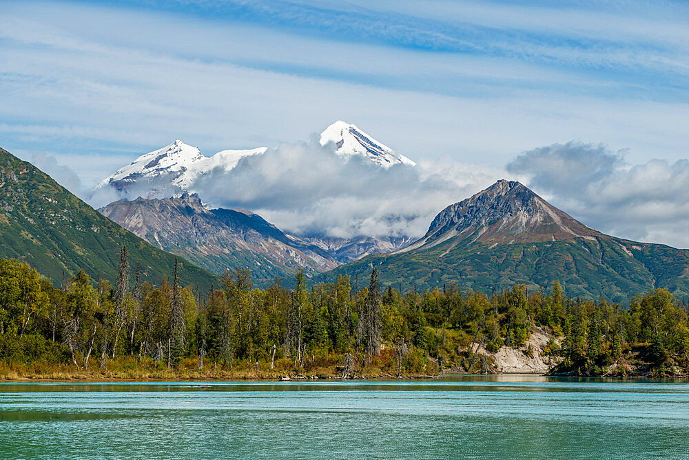 Mount Redoubt and Crescent Lake, Lake Clark National Park and Preserve, Alaska, United States of America, North America