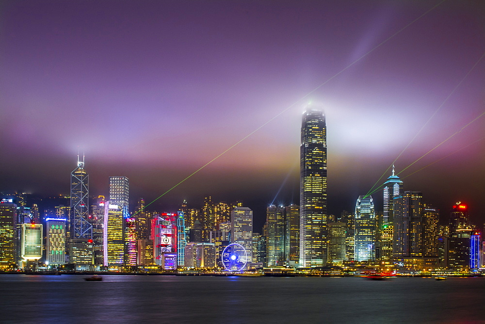 Nightscape of Hong Kong Island sykline and Victoria Harbour, Hong Kong, China. - 796-2401