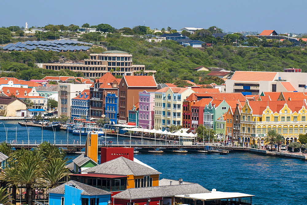 Aerial view of capital city Willemstad, UNESCO World Heritage Site, Curacao, ABC Islands, Dutch Antilles, Caribbean, Central America