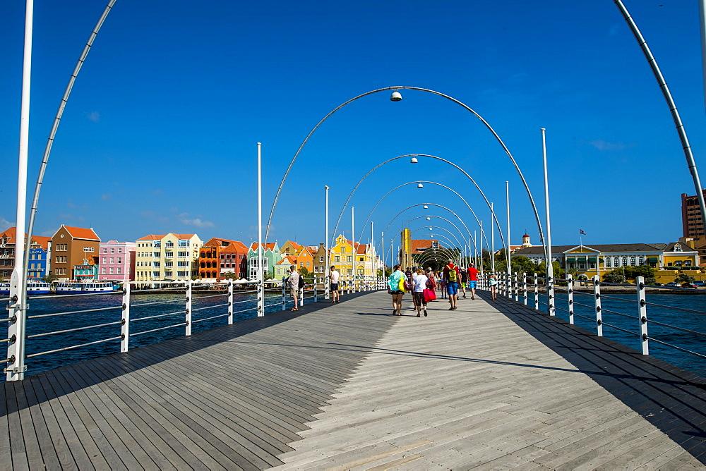 Queen Wilhelmina Bridge, Willemstad, Curacao, ABC Islands, Dutch Antilles, Caribbean, Central America