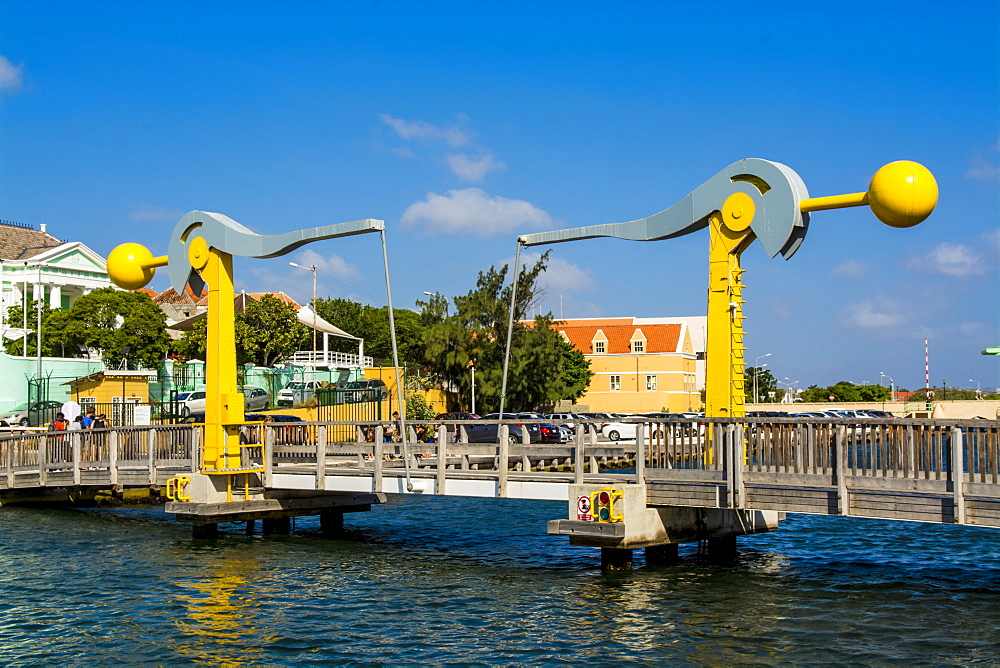 Lift bridge in Willemstad, Curacao, ABC Islands, Dutch Antilles, Caribbean, Central America