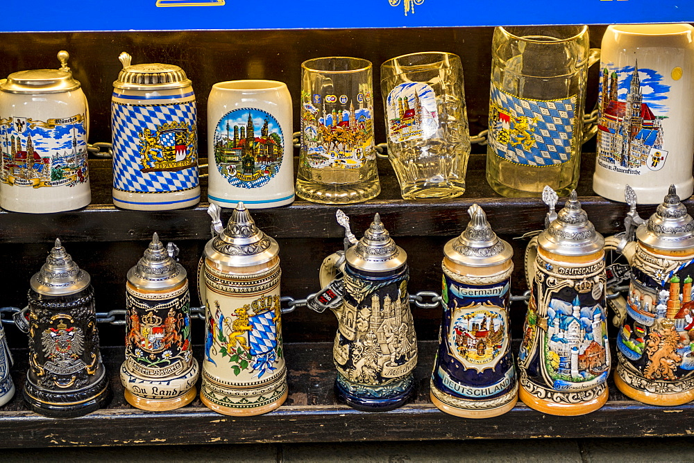Souvenirs at the Viktualienmarkt, a central food or farmers market, Munich, Bavaria, Germany, Europe - 796-2540