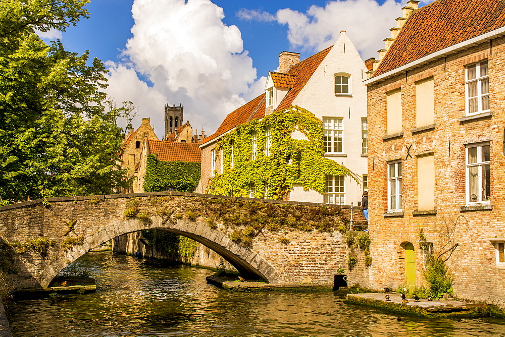 Medieval stone bridge on canal, on canal, Bruges, West Flanders, Belgium. - 796-2549