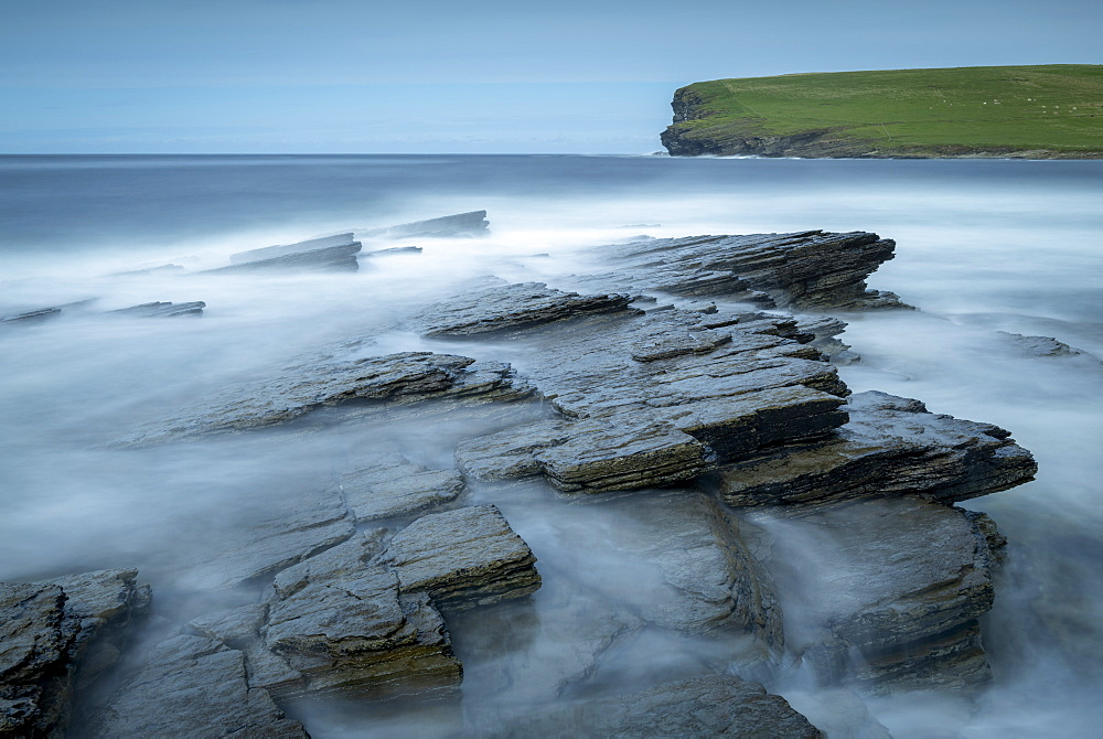 Coastal ledges near Marwick Head on the wild west coast of Orkney, Scotland, United Kingdom, Europe