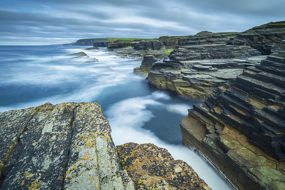 Dramatic coastal scenery on the north coast of Orkney, Scotland, United Kingdom, Europe