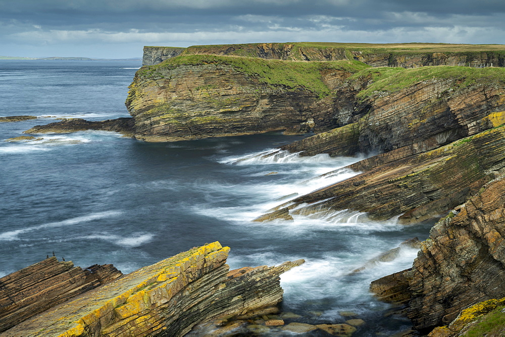 Dramatic layered cliffs at Burwick on South Ronaldsay, Orkney Islands, Scotland, United Kingdom, Europe
