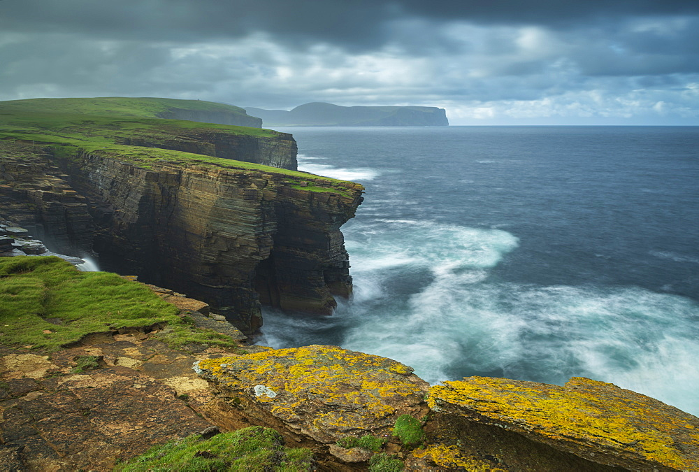 Dramatic cliff top scenery on the wild west coast of Orkney, Scotland, United Kingdom, Europe