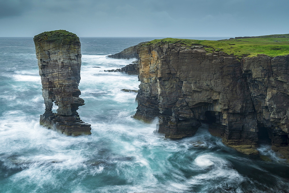 Yesnaby Castle sea stack and cliffs on the wild west coast of Orkney, Scotland, United Kingdom, Europe