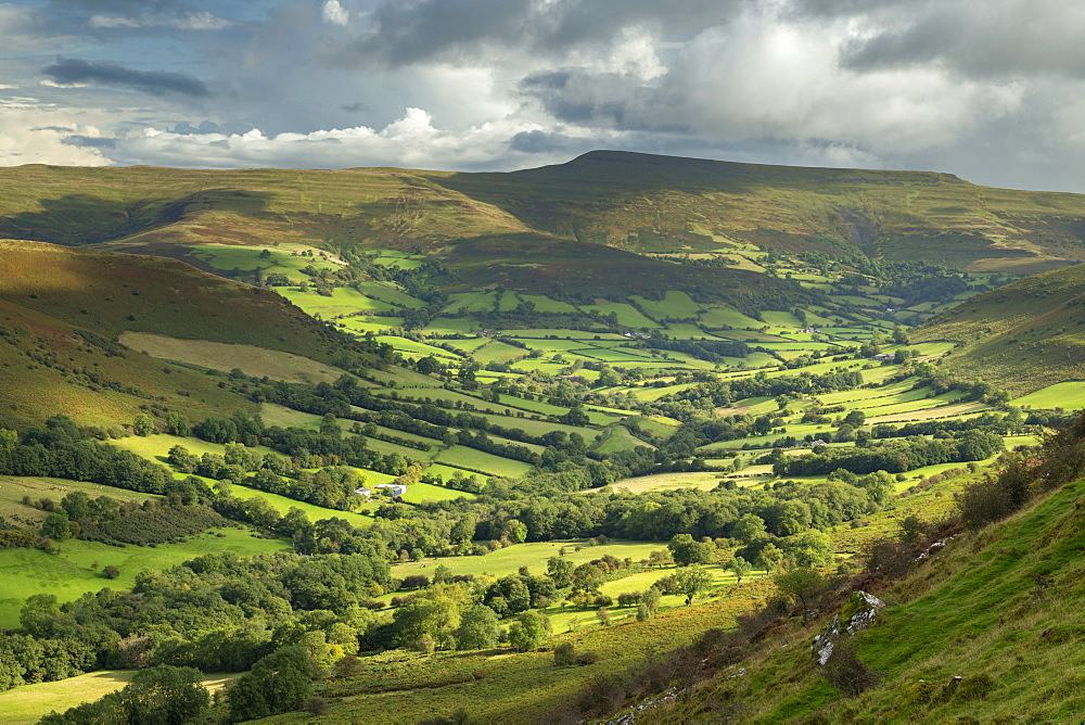 Beautiful rolling countryside beneath the Black Mountains, Brecon Beacons National Park, Powys, Wales, United Kingdom, Europe