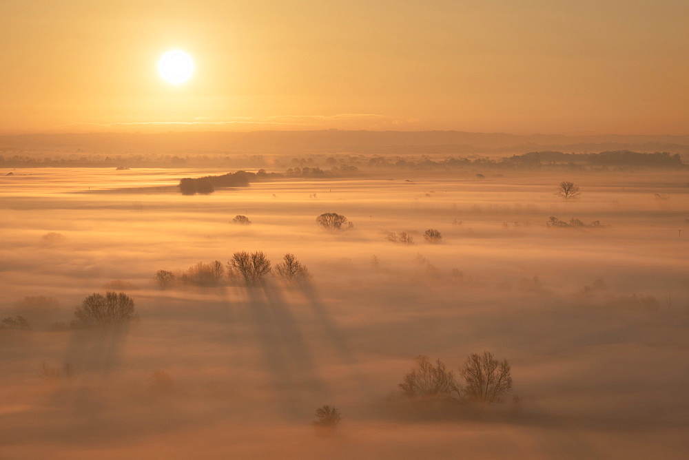 Sunrise over the mist covered Somerset Levels in winter, near Glastonbury, Somerset, England, United Kingdom, Europe