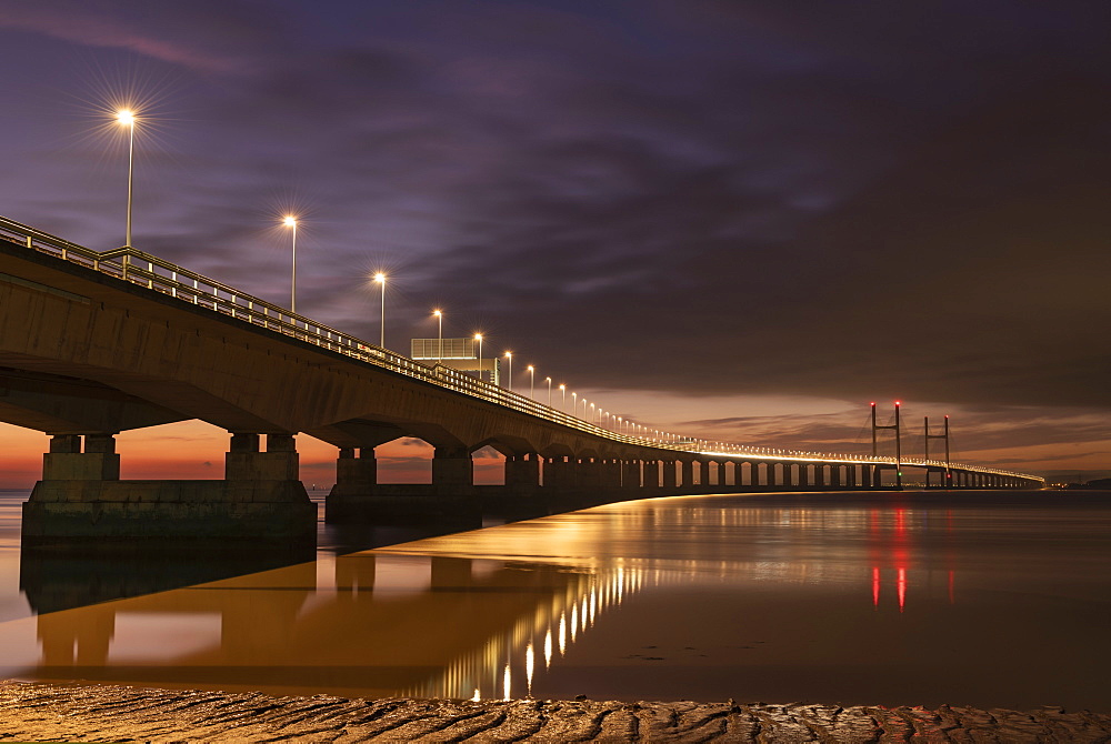 Twilight over an illuminated Prince of Wales Bridge, Gloucestershire, England, United Kingdom, Europe