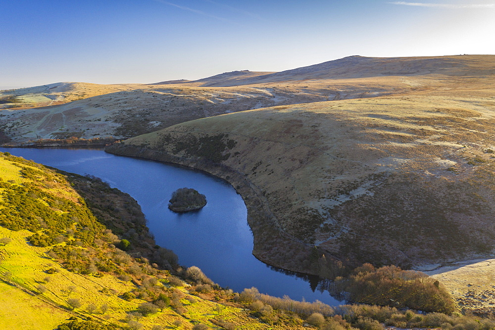 Aerial vista by drone in winter over Meldon Reservoir on Dartmoor, Devon, England, United Kingdom, Europe