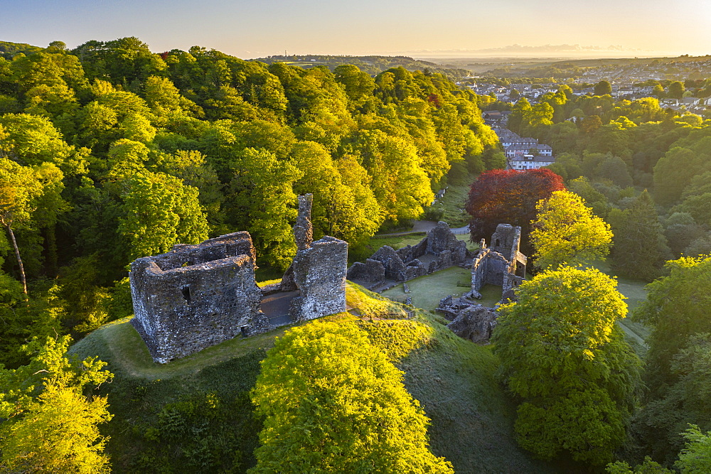 Spring morning at Okehampton Castle, Okehampton, Devon, England, United Kingdom, Europe