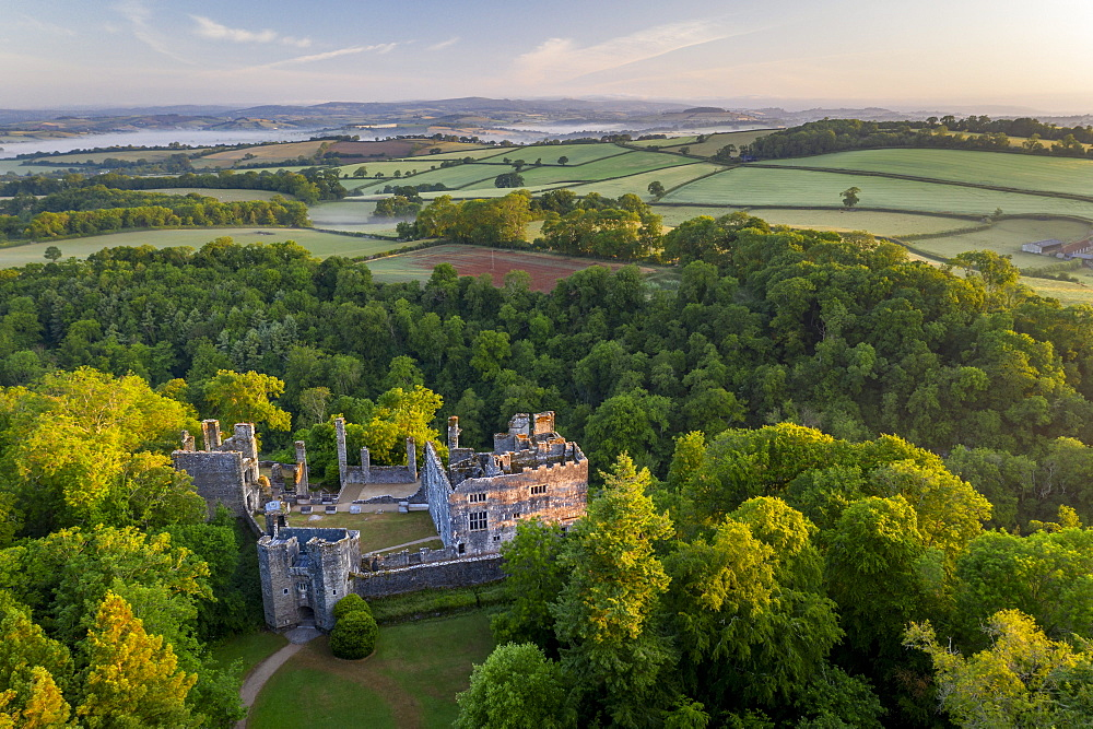 Aerial photograph of Berry Pomeroy Castle at dawn in spring, Devon, England, United Kingdom, Europe