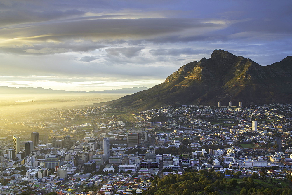 Table Mountain and City Bowl at dawn, Cape Town, Western Cape, South Africa, Africa