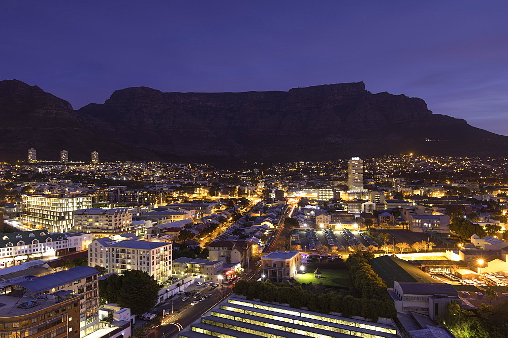 View of Table Mountain at dusk, Cape Town, Western Cape, South Africa