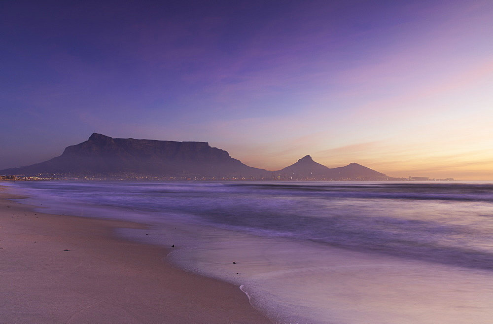 View of Table Mountain from Milnerton beach at sunset, Cape Town, Western Cape, South Africa