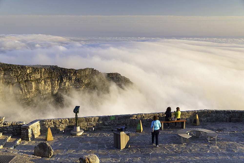People on the summit of Table Mountain, Cape Town, Western Cape, South Africa, Africa