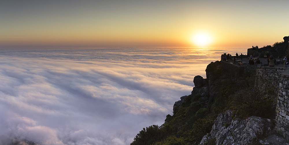 View of sunset from Table Mountain, Cape Town, Western Cape, South Africa, Africa