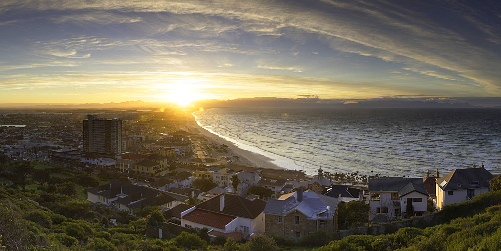 View of Muizenberg beach at sunrise, Cape Town, Western Cape, South Africa
