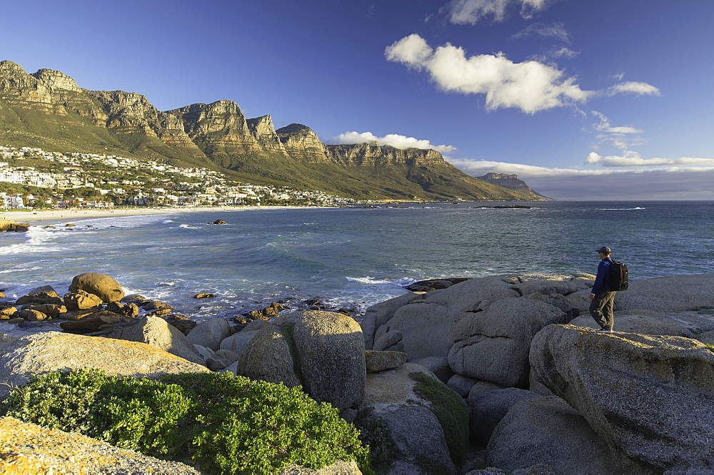 Man at Camps Bay, Cape Town, Western Cape, South Africa, Africa