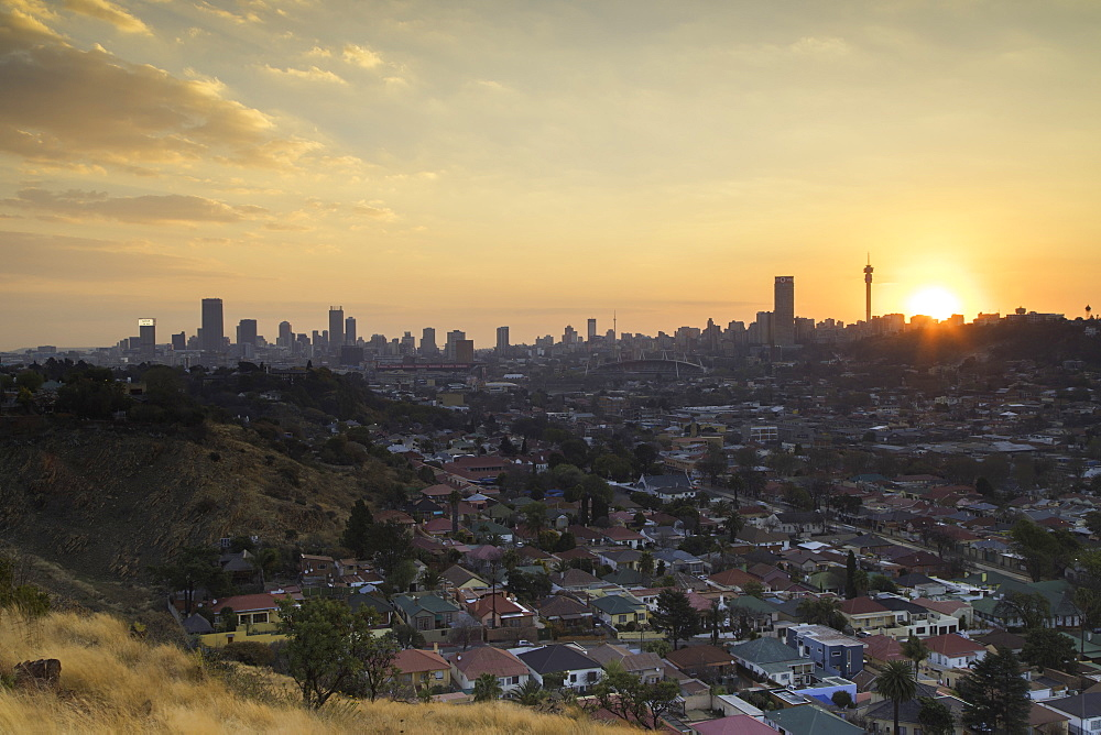 View of skyline at sunset, Johannesburg, Gauteng, South Africa