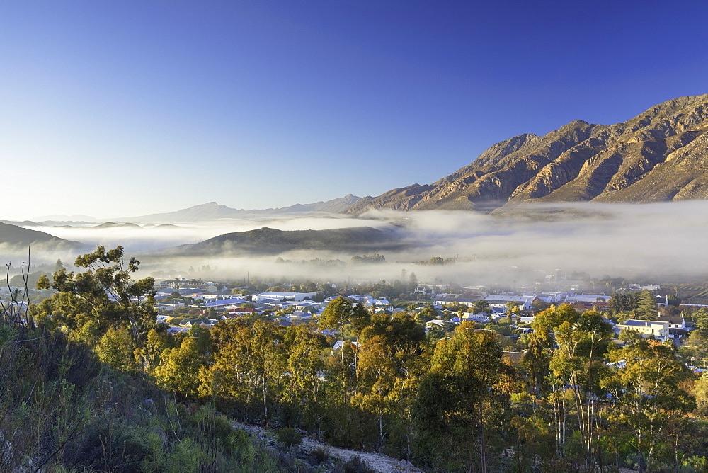 View of mist over Montagu at dawn, Western Cape, South Africa - 800-3226