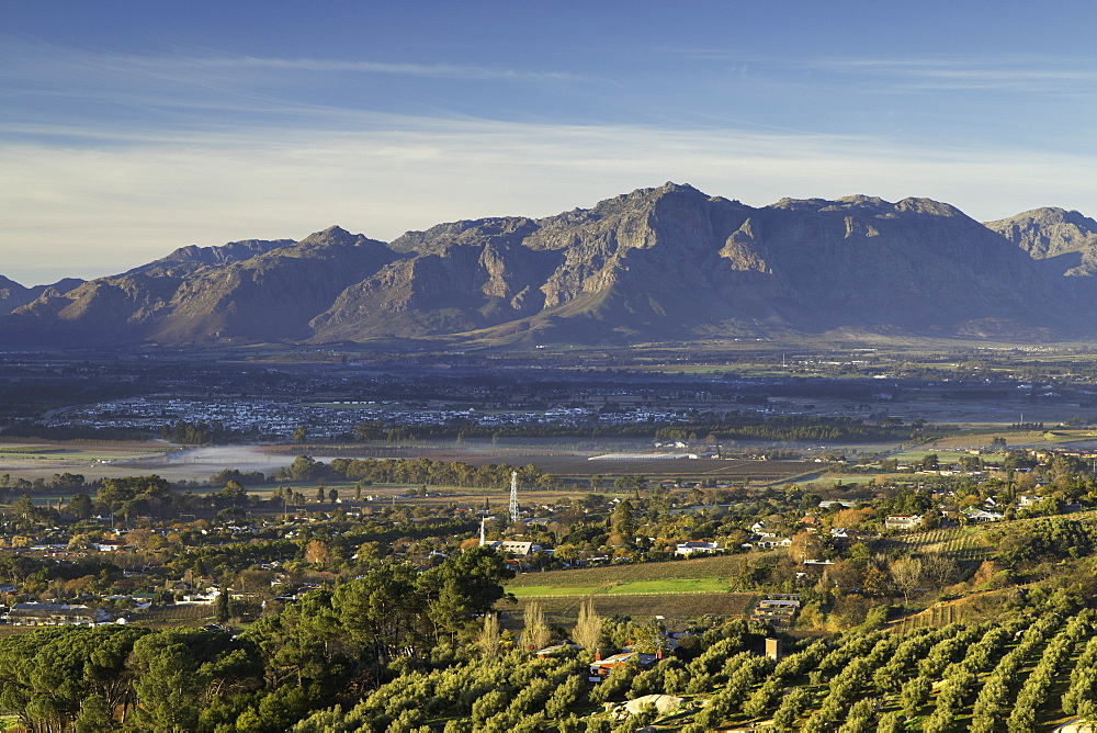 Paarl Valley at sunrise, Paarl, Western Cape, South Africa