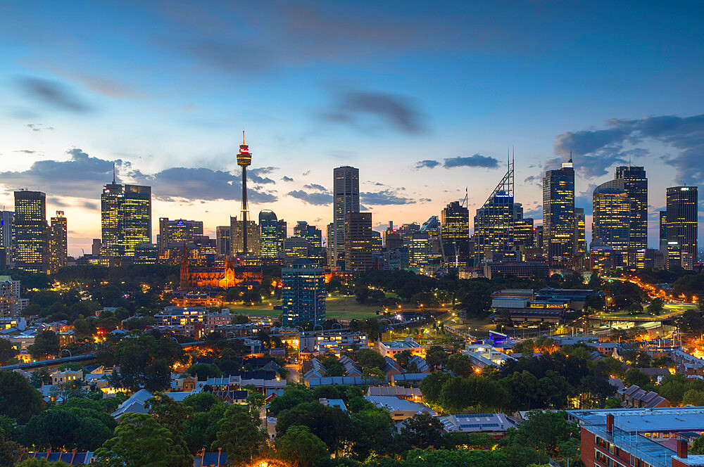 View of skyline at sunset, Sydney, New South Wales, Australia